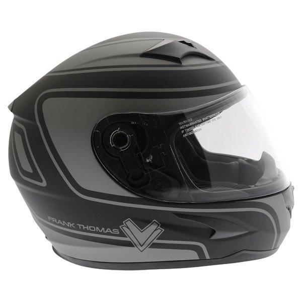 Frank Thomas FT36 Matt Black Grey Full Face Motorcycle Helmet Right Side