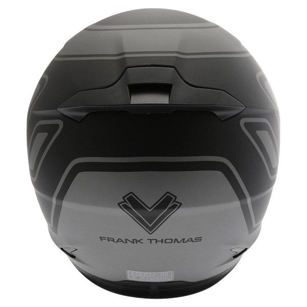 Frank Thomas FT36 Matt Black Grey Full Face Motorcycle Helmet Back