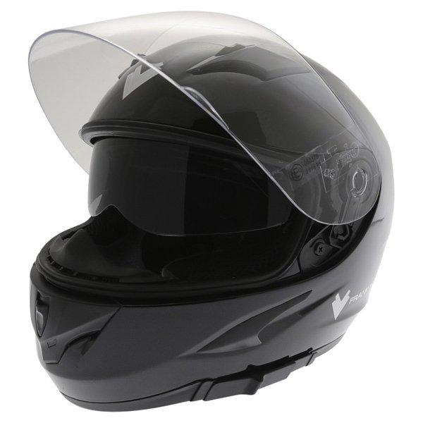 Frank Thomas FT36SV Black Full Face Motorcycle Helmet Open With Sun Visor