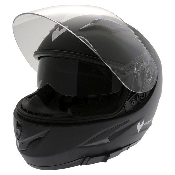 Frank Thomas FT36SV Matt Black Full Face Motorcycle Helmet Open With Sun Visor