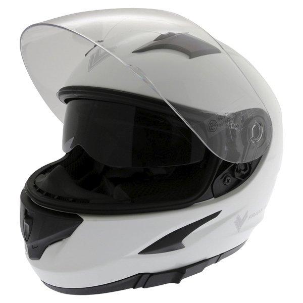Frank Thomas FT36SV White Full Face Motorcycle Helmet Open With Sun Visor