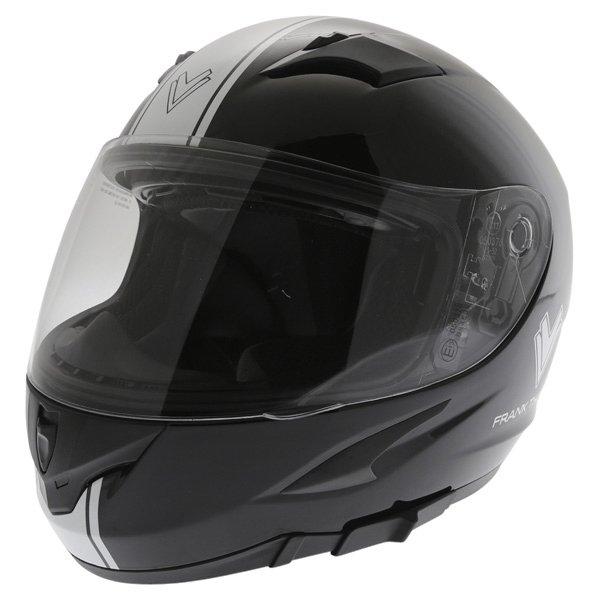 Frank Thomas FT36SV Retro Black White Full Face Motorcycle Helmet Front Left
