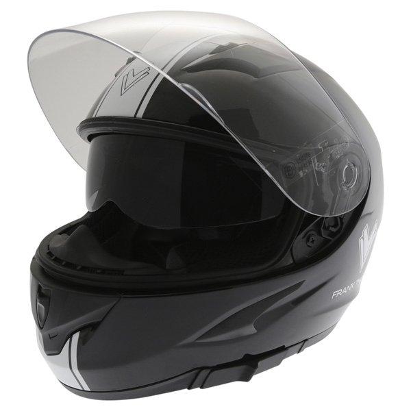 Frank Thomas FT36SV Retro Black White Full Face Motorcycle Helmet Open With Sun Visor