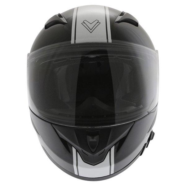 Frank Thomas FT36SV Retro Black White Full Face Motorcycle Helmet Front