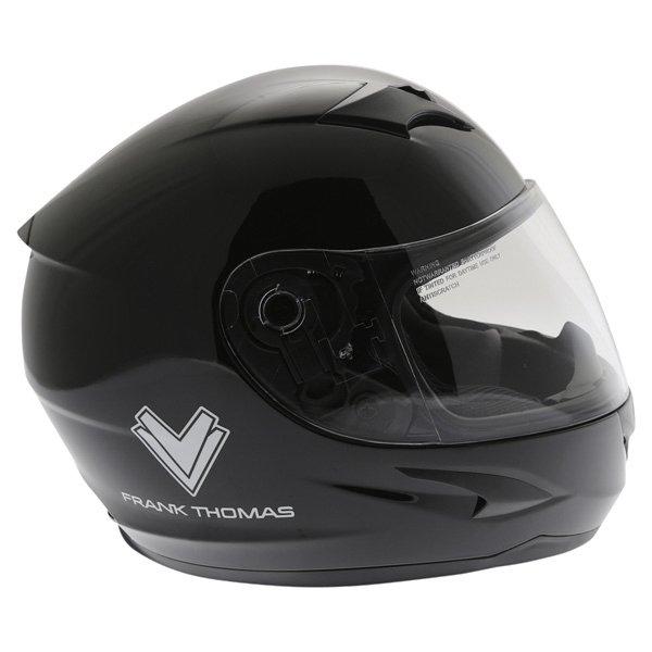 Frank Thomas FT36SV Retro Black White Full Face Motorcycle Helmet Right Side