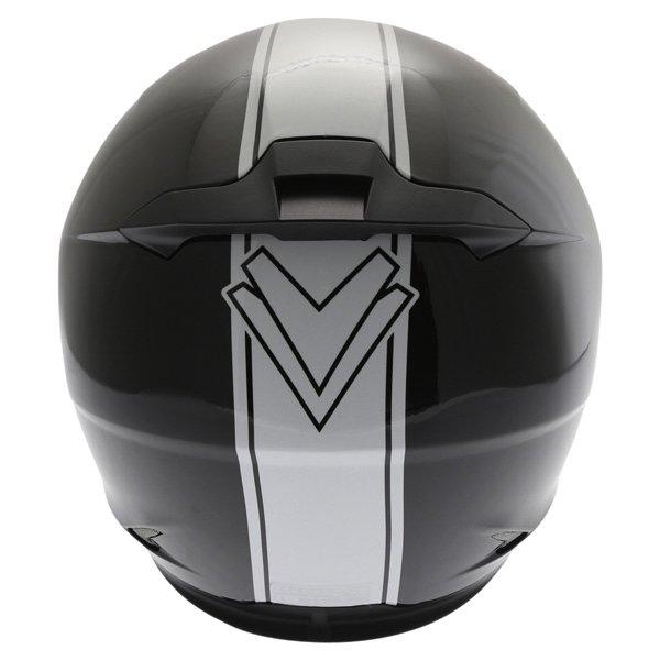 Frank Thomas FT36SV Retro Black White Full Face Motorcycle Helmet Back