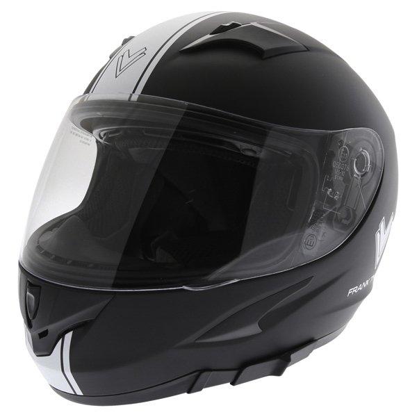 Frank Thomas FT36SV Retro Matt Black White Full Face Motorcycle Helmet Front Left