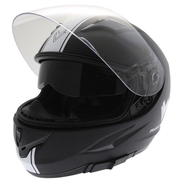 Frank Thomas FT36SV Retro Matt Black White Full Face Motorcycle Helmet Open With Sun Visor