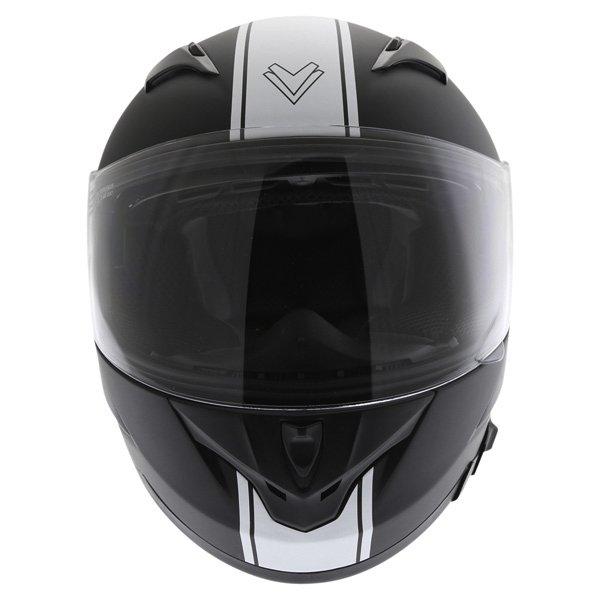 Frank Thomas FT36SV Retro Matt Black White Full Face Motorcycle Helmet Front
