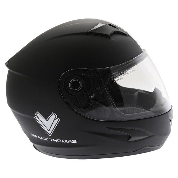 Frank Thomas FT36SV Retro Matt Black White Full Face Motorcycle Helmet Right Side