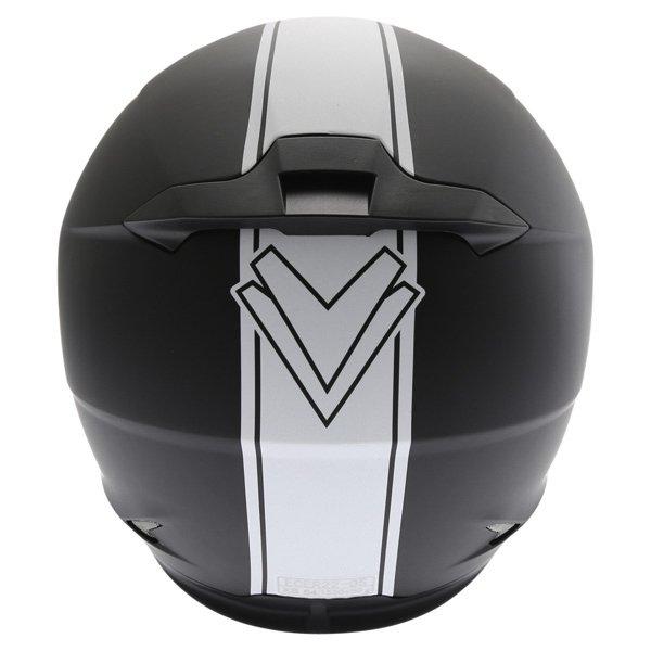 Frank Thomas FT36SV Retro Matt Black White Full Face Motorcycle Helmet Back