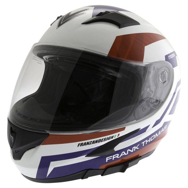Frank Thomas FT36SV Modena White Red Blue Full Face Motorcycle Helmet Front Left