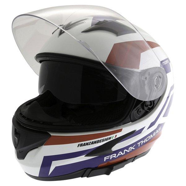 Frank Thomas FT36SV Modena White Red Blue Full Face Motorcycle Helmet Open With Sun Visor