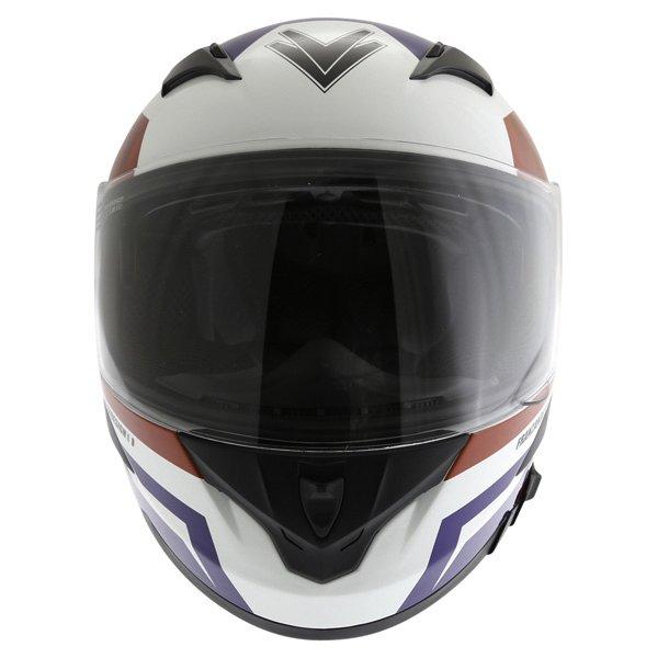 Frank Thomas FT36SV Modena White Red Blue Full Face Motorcycle Helmet Front