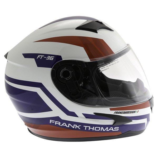 Frank Thomas FT36SV Modena White Red Blue Full Face Motorcycle Helmet Right Side