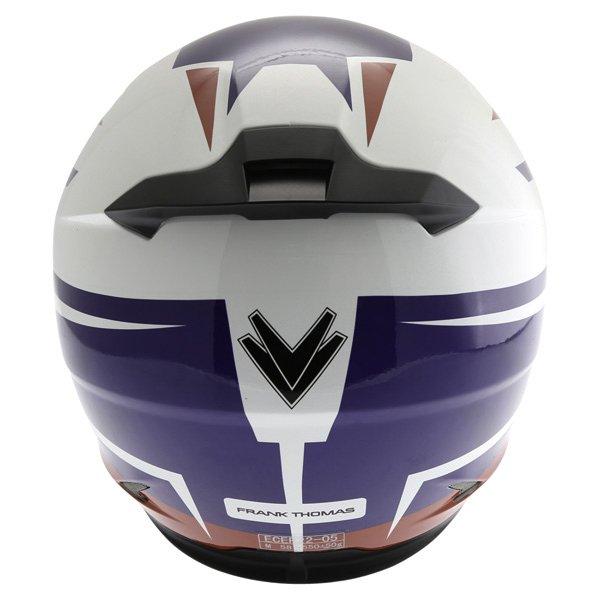 Frank Thomas FT36SV Modena White Red Blue Full Face Motorcycle Helmet Back