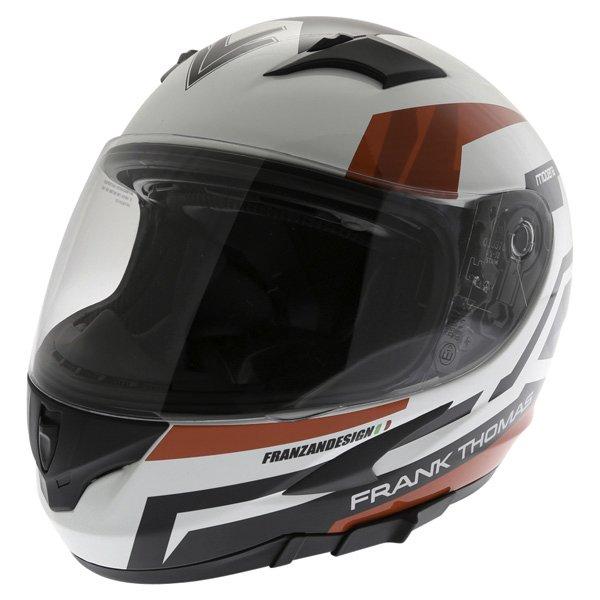 Frank Thomas FT36SV Modena White Red Black Full Face Motorcycle Helmet Front Left