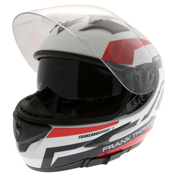 Frank Thomas FT36SV Modena White Red Black Full Face Motorcycle Helmet Open With Sun Visor