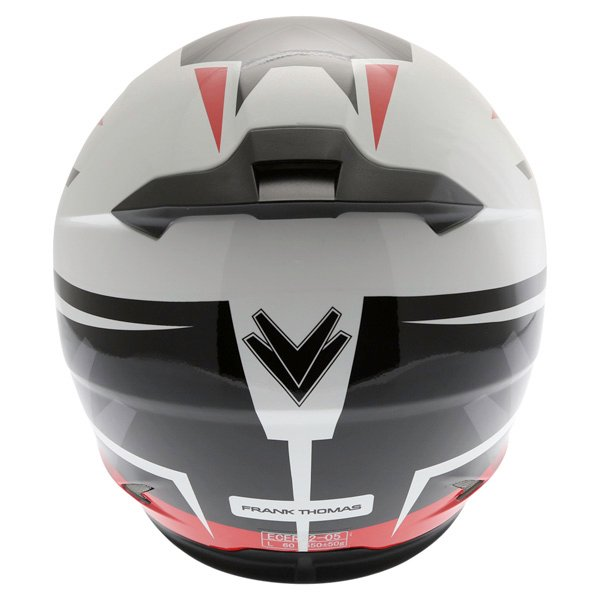 Frank Thomas FT36SV Modena White Red Black Full Face Motorcycle Helmet Back