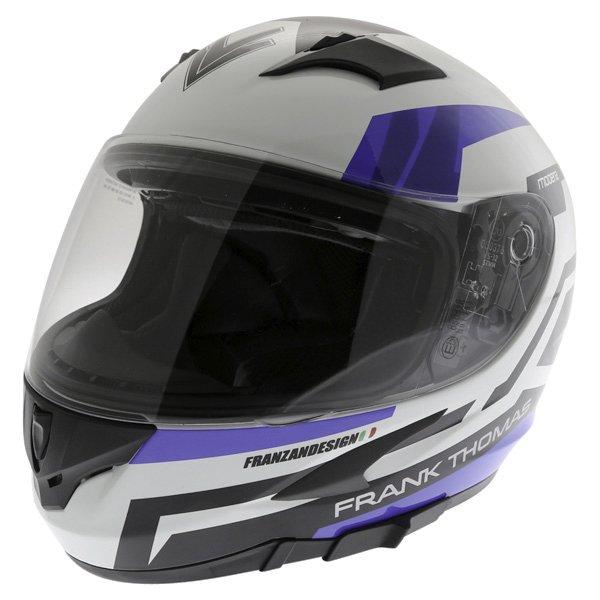 Frank Thomas FT36SV Modena White Blue Black Full Face Motorcycle Helmet Front Left