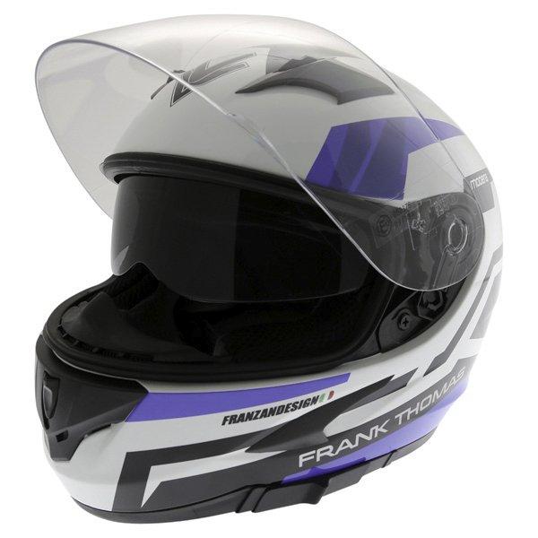 Frank Thomas FT36SV Modena White Blue Black Full Face Motorcycle Helmet Open With Sun Visor