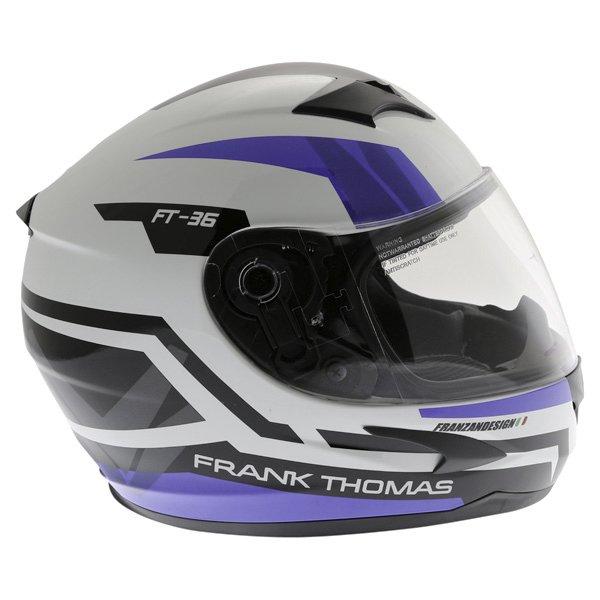 Frank Thomas FT36SV Modena White Blue Black Full Face Motorcycle Helmet Right Side