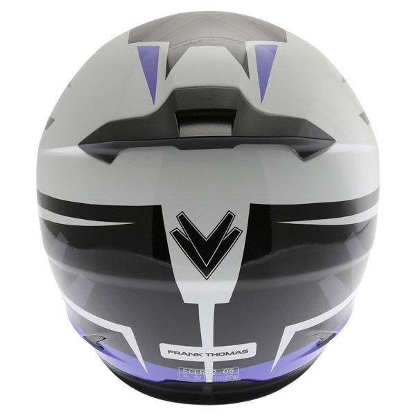 Frank Thomas FT36SV Modena White Blue Black Full Face Motorcycle Helmet Back