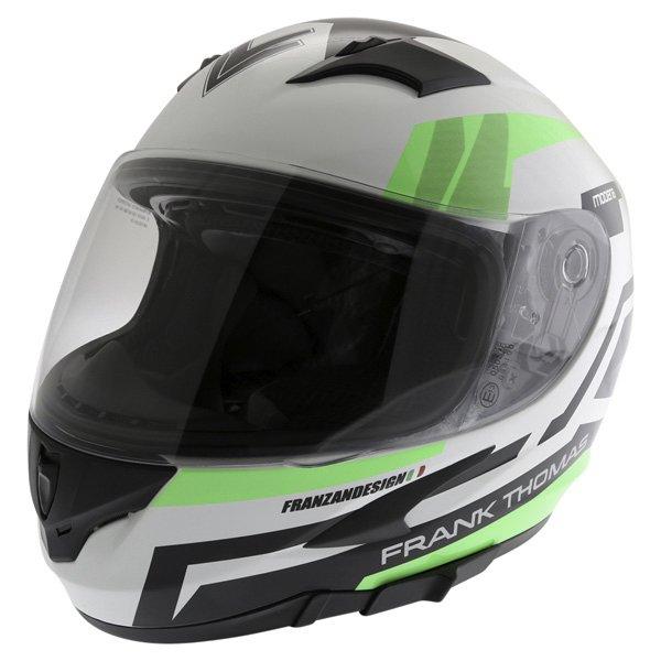 Frank Thomas FT36SV Modena White Green Black Full Face Motorcycle Helmet Front Left