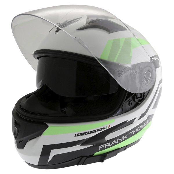 Frank Thomas FT36SV Modena White Green Black Full Face Motorcycle Helmet Open With Sun Visor