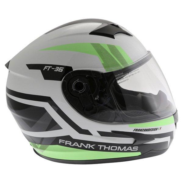 Frank Thomas FT36SV Modena White Green Black Full Face Motorcycle Helmet Right Side