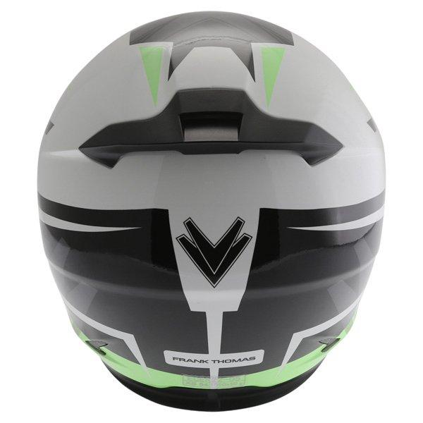 Frank Thomas FT36SV Modena White Green Black Full Face Motorcycle Helmet Back