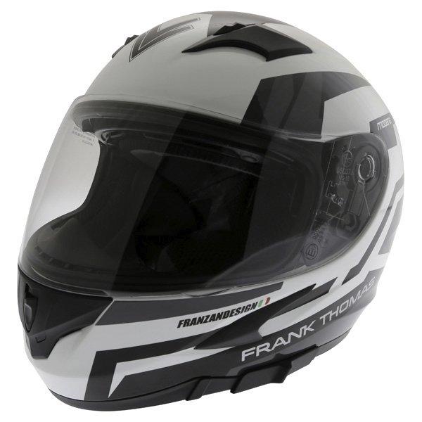 Frank Thomas FT36SV Modena White Black Grey Full Face Motorcycle Helmet Front Left