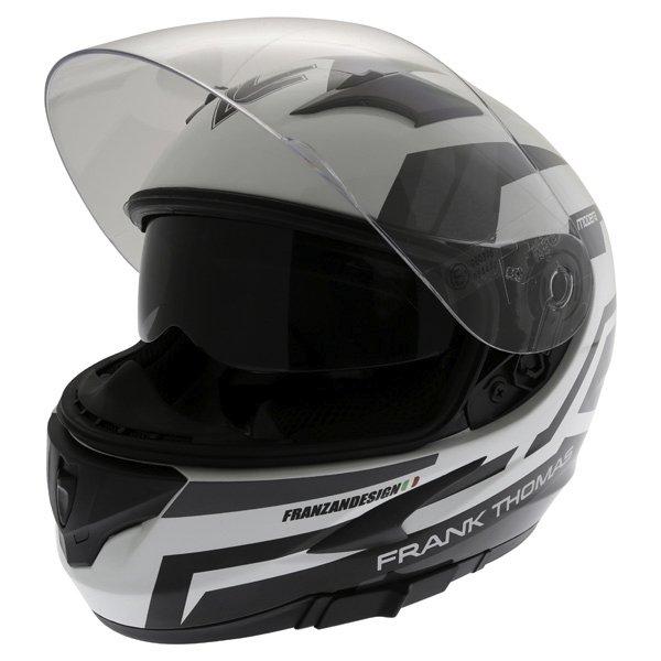Frank Thomas FT36SV Modena White Black Grey Full Face Motorcycle Helmet Open With Sun Visor