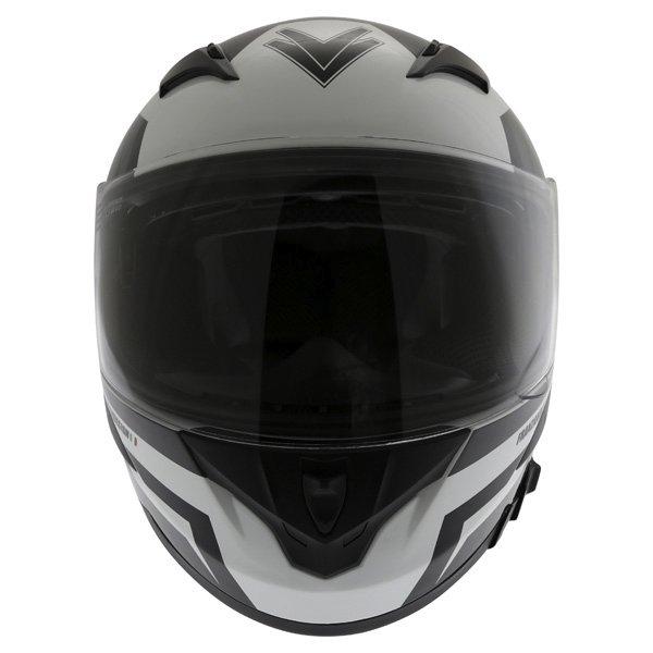 Frank Thomas FT36SV Modena White Black Grey Full Face Motorcycle Helmet Front