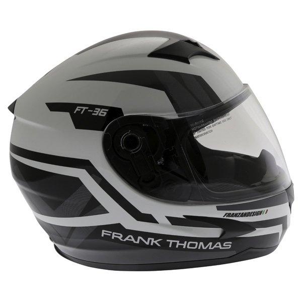 Frank Thomas FT36SV Modena White Black Grey Full Face Motorcycle Helmet Right Side
