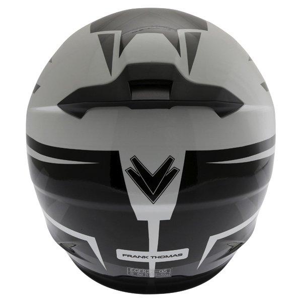 Frank Thomas FT36SV Modena White Black Grey Full Face Motorcycle Helmet Back