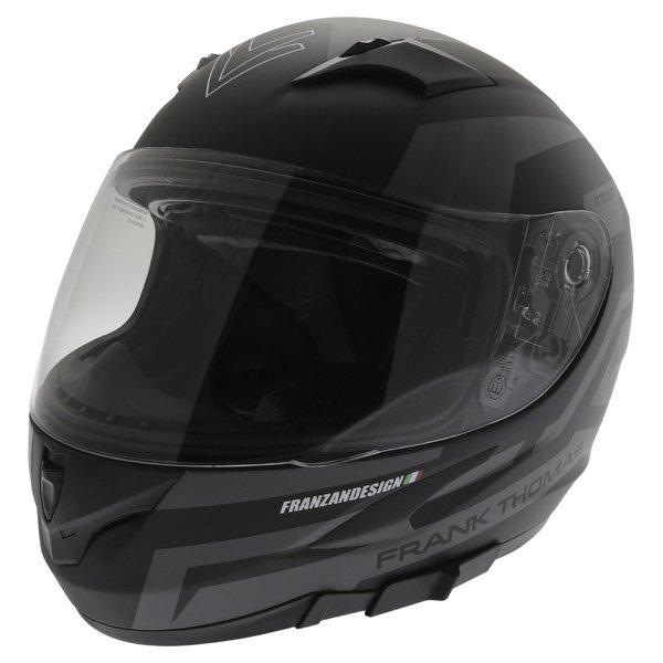 Frank Thomas FT36SV Modena Matt Black Grey Full Face Motorcycle Helmet Front Left