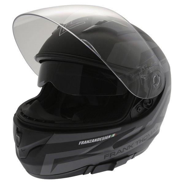 Frank Thomas FT36SV Modena Matt Black Grey Full Face Motorcycle Helmet Open With Sun Visor