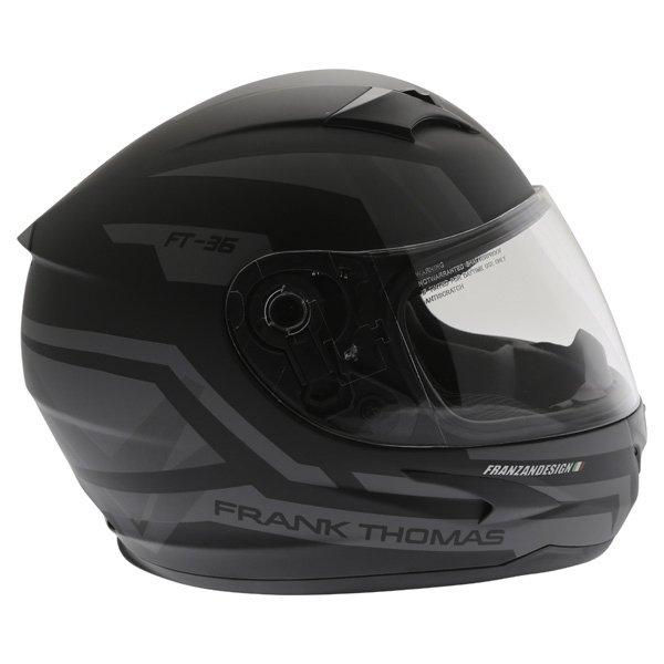 Frank Thomas FT36SV Modena Matt Black Grey Full Face Motorcycle Helmet Right Side