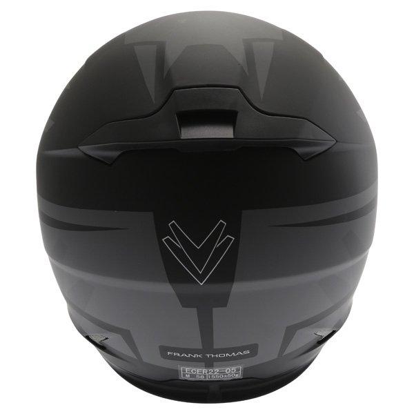 Frank Thomas FT36SV Modena Matt Black Grey Full Face Motorcycle Helmet Back