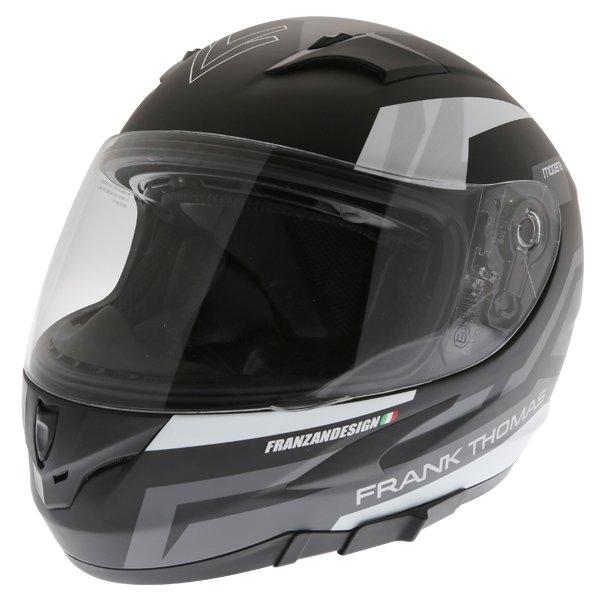 Frank Thomas FT36SV Modena Matt Black Grey White Full Face Motorcycle Helmet Front Left