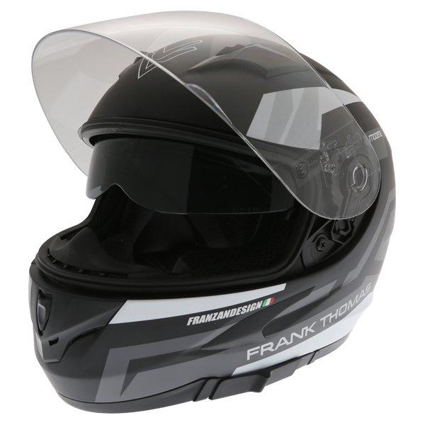 Frank Thomas FT36SV Modena Matt Black Grey White Full Face Motorcycle Helmet Open With Sun Visor