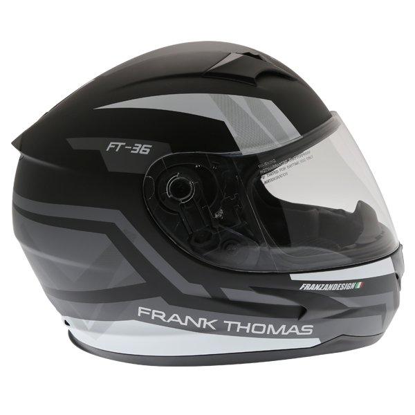 Frank Thomas FT36SV Modena Matt Black Grey White Full Face Motorcycle Helmet Right Side