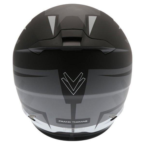 Frank Thomas FT36SV Modena Matt Black Grey White Full Face Motorcycle Helmet Back