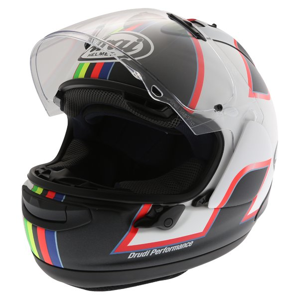 Arai RX-7V Haslam Black Full Face Motorcycle Helmet Visor Open