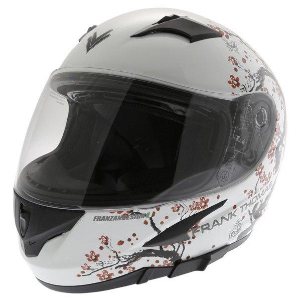 Frank Thomas FT36SV Cherry White Ladies Full Face Motorcycle Helmet Front Left