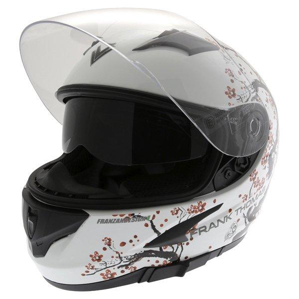 Frank Thomas FT36SV Cherry White Ladies Full Face Motorcycle Helmet Open With Sun Visor