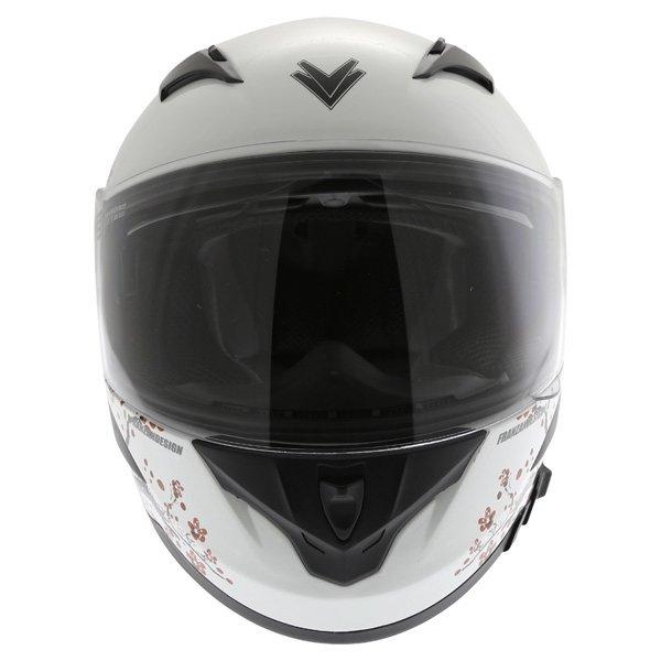 Frank Thomas FT36SV Cherry White Ladies Full Face Motorcycle Helmet Front