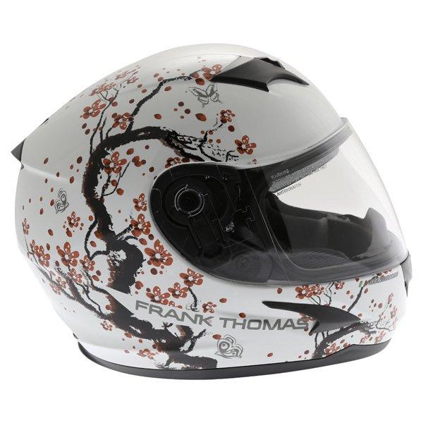 Frank Thomas FT36SV Cherry White Ladies Full Face Motorcycle Helmet Right Side