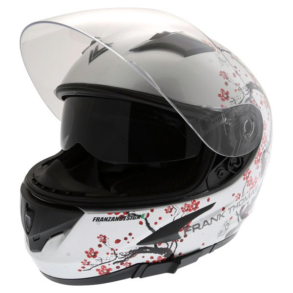 Frank Thomas FT36SV Cherry Silver Ladies Full Face Motorcycle Helmet Open With Sun Visor